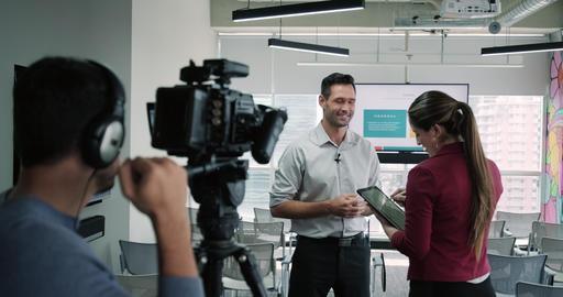 4 Journalist In Corporate Interview Footage