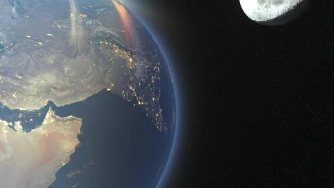 地球と月 CG動画素材