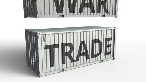Container with TRADE text being broken by cargo container with WAR inscription Footage