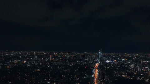 [Tokyo Night View] City Lights, View of Route 246 from Roppongi Hills Live Action