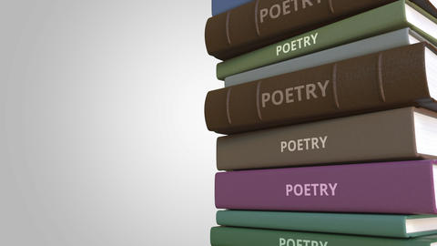 Stack of poetry books, loopable 3D animation Footage