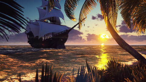 A large medieval ship at sea at sunset. An ancient medieval ship moored near a Animation