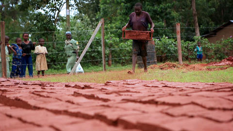 Extreme close up of red bricks drying in the sun; a boy adds more to the rows Live Action