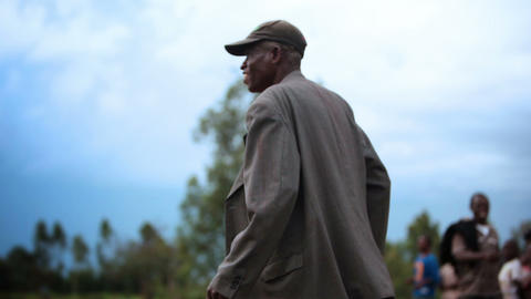 KENYA-C.2012 A man celebrates on the sidelines of a football field in Kenya, Afr Footage