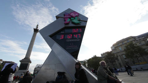 LONDON - OCTOBER 7: Camera pans on a view of the Olympic clock countdown at Traf Footage