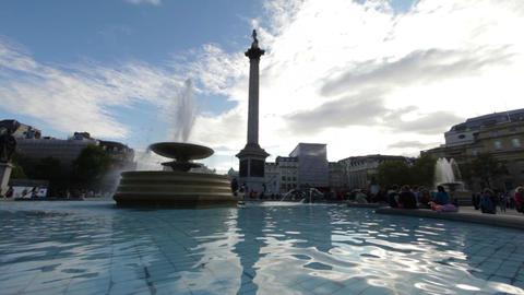 Trafalgar Square fountain stationary Footage