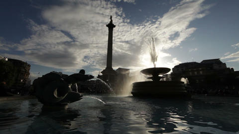 Nelson's monument and Trafalgar Square fountain with amazing light Footage