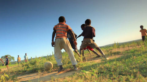 African Children playing in the fields in Kenya Footage
