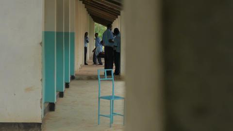 Socializing in a school hallway in Kenya Footage