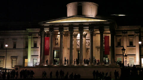 Evening time by National Gallery entrance Footage