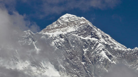 Time-lapse of clouds swirling around Mount Everest. Cropped Footage