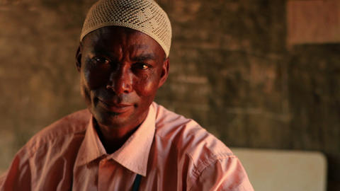 Close up of a Muslim man in a village in Kenya Footage