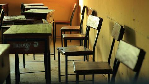 Empty desks in a classroom in a Kenyan village Footage