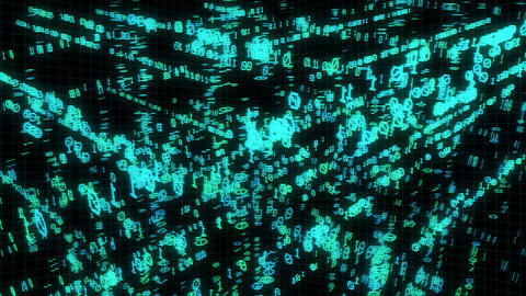 Binary Code In Matrix Cube stock footage