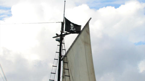 Pirate flag on a ship Footage
