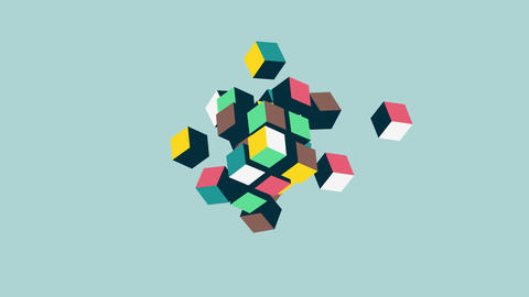 Abstract 3d cubes form animation, team building concept, HD animation Animation