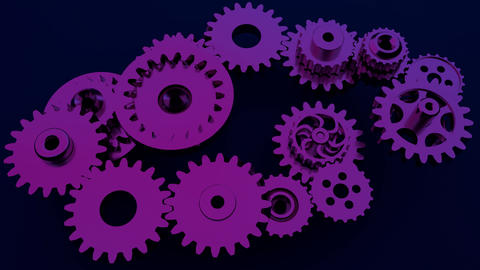 Gear system animation. Motion design of seamless loop cogs rotation. Seamless Live Action