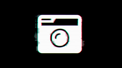 From the Glitch effect arises camera retro symbol. Then the TV turns off. Alpha Animation