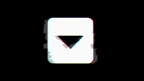 From the Glitch effect arises caret square down symbol. Then the TV turns off. Animation