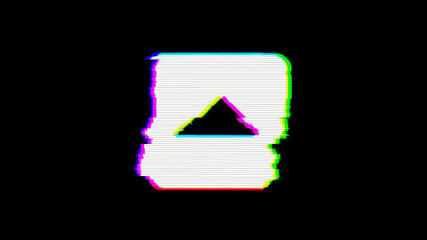 From the Glitch effect arises caret square up symbol. Then the TV turns off. Animation