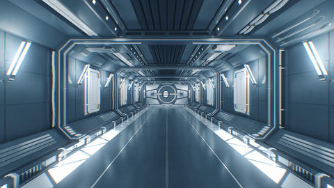 Flying Through the Futuristic Construction Tunnel with Opening Metal Gates and Footage