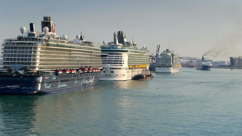 Ships arrival at the port. Time Lapse Footage