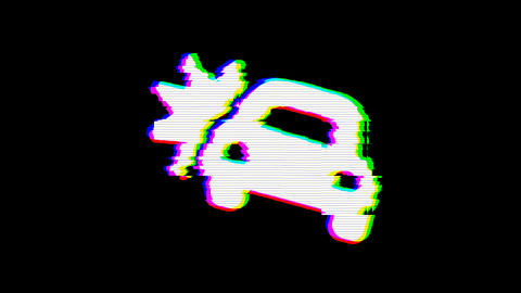 From the Glitch effect arises car crash symbol. Then the TV turns off. Alpha Animation