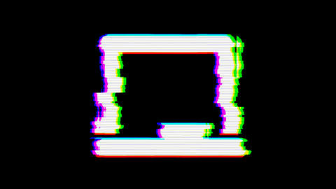 From the Glitch effect arises chalkboard symbol. Then the TV turns off. Alpha Animation
