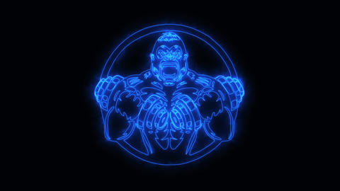 Blue Gorilla Gym Fitness Animated Logo with Reveal Effect Animation