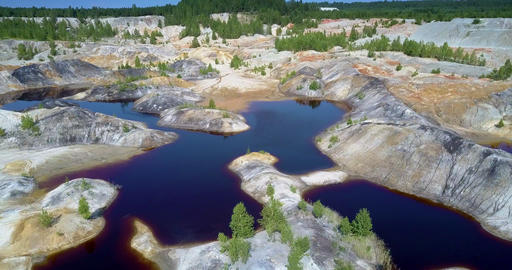 nature repairs quarry by small trees on stony islands banks Footage