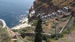 Greece Aegean Sea Cyclades Santorini Fira cable car from center to harbor Footage