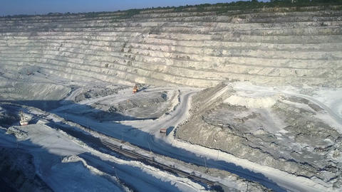 high upper view large asbestos quarry in morning sunlight Footage