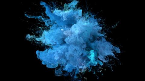Light Blue Color Burst - colorful smoke explosion fluid particles alpha matte Animation