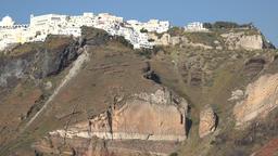 Greece Aegean Sea Cyclades Santorini Fira city on top of volcano crater Footage
