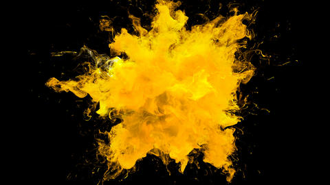 Vivid Yellow Color Burst - colorful smoke explosion fluid particles alpha matte Animation