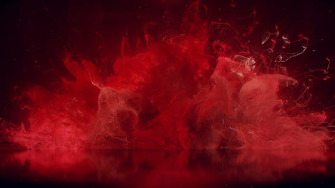 Red Color Burst colorful smoke explosion fluid particles reflection background Animation