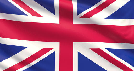 Flag of United Kingdom. Waved highly detailed 4K fabric texture Footage
