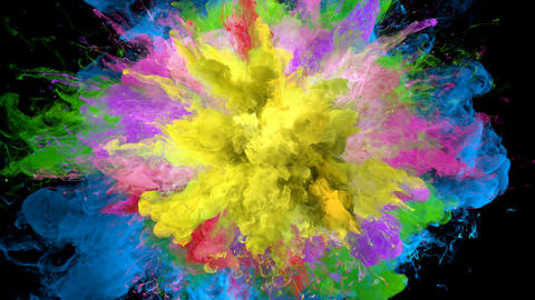 Color Burst - colorful smoke series of explosions fluid particles alpha matte Animation