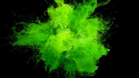 Acid Green Color Burst - colorful smoke explosion fluid particles alpha matte Animation