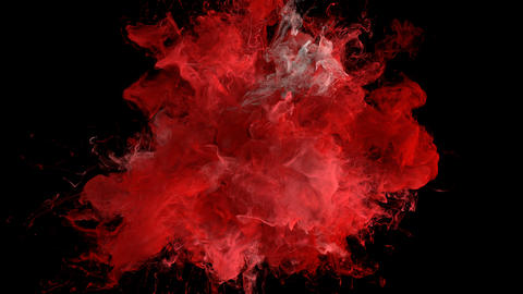 Red Color Burst - colorful smoke explosion fluid particles alpha matte Animation