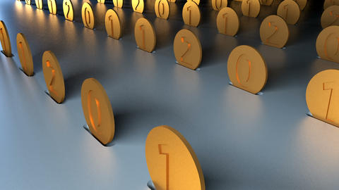 Rows of golden coins are on reflective surface, 3d rendering for create of Footage
