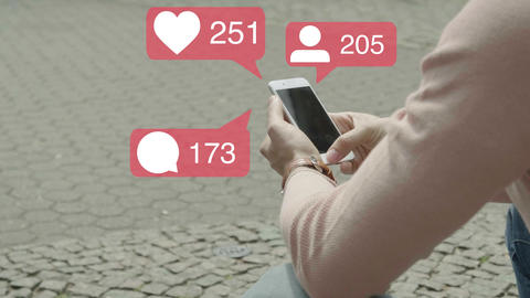 Influencer Using Smartphone Animated Like, Comment, Follower Counter Animation