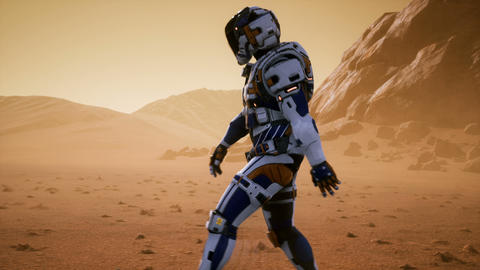Astronaut walks on the surface of Mars through a dust storm. Panoramic landscape Animation
