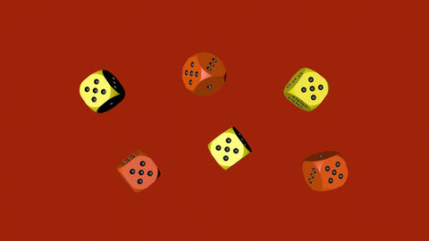 Orange Yellow Dice Loop Moving, 3D Rendering 4K Animation