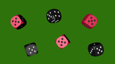 Red Black Dice Loop Moving, 3D Rendering 4K Animation