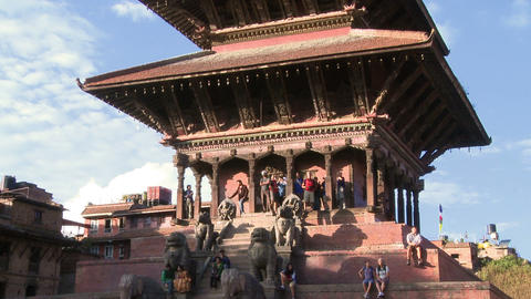 Street traffic at Bhaktapur Square in Nepal Footage
