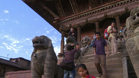 Bhaktapur Square statues and traffic, Nepal Footage