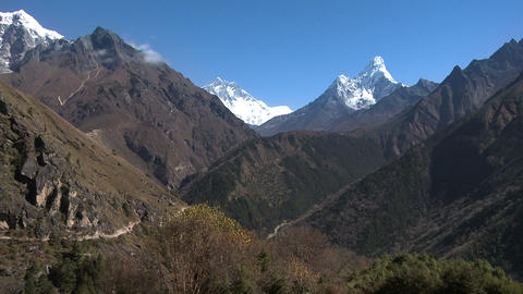 Ama Dablam and Lhotse Himalayan peaks in Nepal Footage