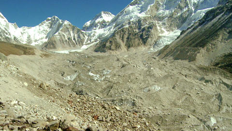 Panorama of a dirty glacier flowing from the Himalayas Footage