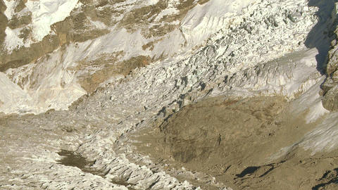 Panoramic shot of a glacier at the base of Mt. Everest Footage